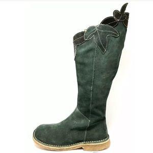 Camper Green Suede Floral Applique Knee High Boots